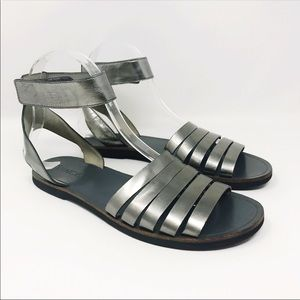 VINCE Cassie Pewter Metallic Leather Sandals 6.5